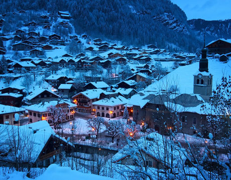 Chalets in Morzine - a view across the old centre of the resort