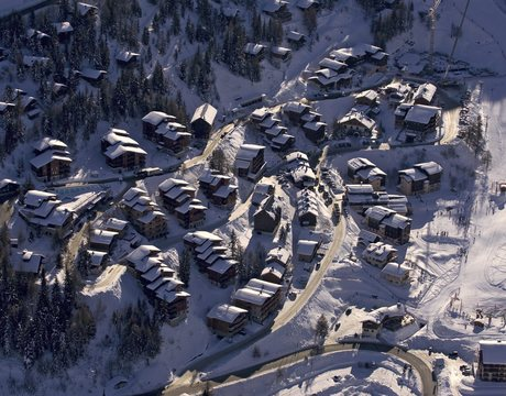 Chalets in Plagne 1800 - an aerial view