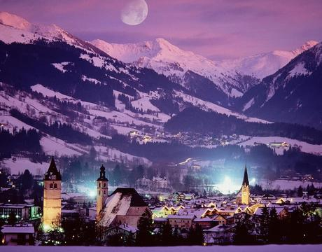 Hotels in Kitzbuhel - a night time view of the resort