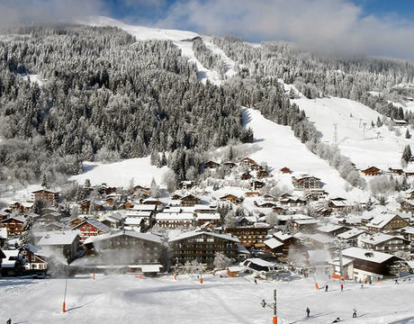 Chalets in Les Gets - a view looking from the Chavannes slopes across the resort centre to the Mont Chery lifts