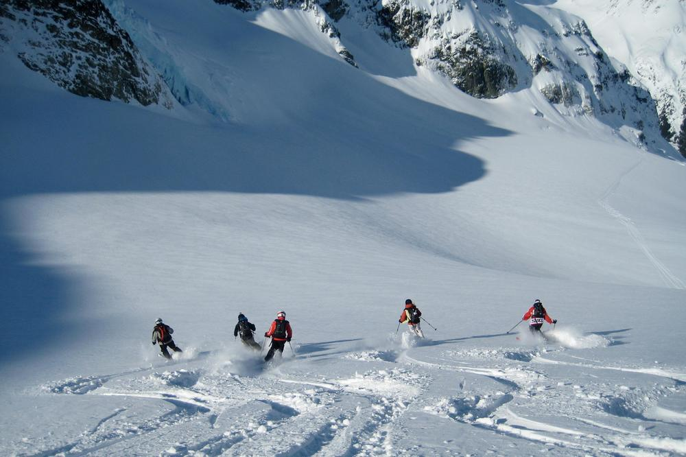 Ski resorts near Geneva - skiing off piste on the legendary Grands Montets mountain near Chamonix